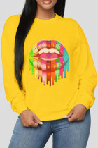 Orange Polyester O Neck Long Sleeve Patchwork Print Burn-out Lips Print Tops