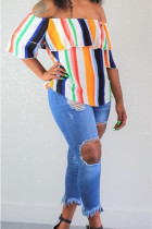 Multi-color Polyester One word collar Short Sleeve Draped ruffle asymmetrical Striped Blouses & Shirts
