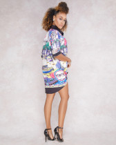 As Show-2 Fashion V-Neck Short Print Long Blouses & Shirts