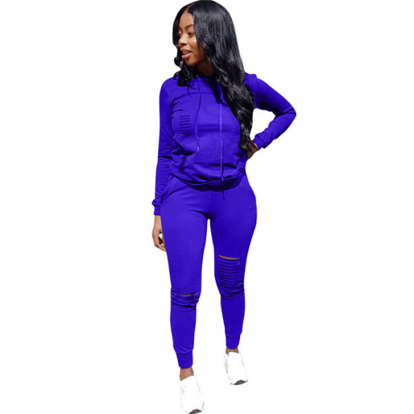 Royal blue Drawstring Mid Solid pencil Two-piece suit