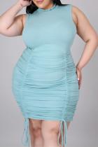 Blue Fashion Casual Plus Size Solid Fold O Neck Sleeveless Dress