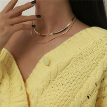 Gold Fashion Simplicity Solid Necklaces