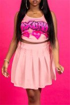 Pink Sexy Casual Letter Print Vests U Neck Sleeveless Two Pieces