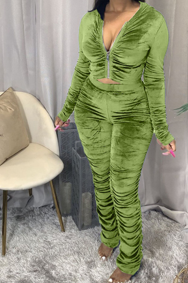 Green Fashion Sexy Adult Pleuche Solid Fold Hooded Collar Long Sleeve Regular Sleeve Regular Two Pieces