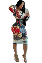White Milk. Europe and America Cap Sleeve Long Sleeves O neck Pencil Dress Mid-Calf Patchwork Print Club