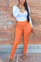 Light orange Fashion Casual Adult Polyester Solid Split Joint U Neck Long Sleeve Regular Sleeve Regular Two Pieces