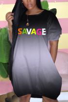 Black Polyester Fashion Casual adult Ma'am Cap Sleeve Short Sleeves O neck Lantern skirt Knee-Length Character Dresses