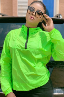 Green Polyester hooded Long Sleeve Zippered Solid rash guards