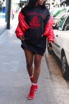 Black Polyester Street Cap Sleeve O neck Straight Knee-Length Print Dresses