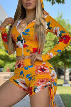 Yellow Polyester Fashion Active Print Two Piece Suits Straight Long Sleeve Two Pieces
