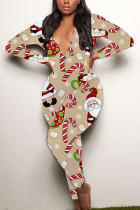 Khaki Sexy Party Patchwork Print Santa Claus V Neck Skinny Jumpsuits