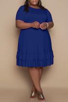 Blue Fashion Casual Solid Flounce O Neck Short Sleeve Dress