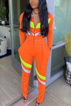 Orange Sportswear Patchwork Zipper Collar Long Sleeve Two Pieces