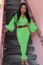 Green Fashion Light Print Solid Patchwork Polyester Long Sleeve Turndown Collar