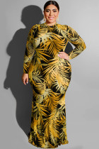 Yellow Polyester Sexy O Neck HOLLOWED OUT Print Pattern