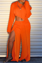 Orange Fashion Casual Solid Split Joint Slit Oblique Collar Long Sleeve Two Pieces
