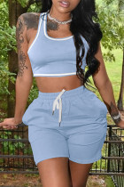 Light Blue Casual Sportswear Solid Vests U Neck Sleeveless Two Pieces