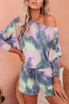 Grey Polyester Fashion Casual adult One word collar Patchwork Print Tie Dye Two Piece Suits Stitching Plus Size