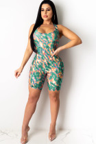 Green Sexy Hollow Asymmetrical Camouflage Backless Print Chemical fiber blend Sleeveless O Neck Rompers