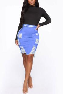 Dark Blue Denim Elastic Fly High Solid Hole Hip skirt Bottoms
