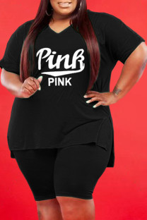 Black Casual Letter Solid Split Joint V Neck Plus Size Two Pieces