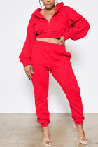Red Casual Sportswear Polyester Solid Hooded Collar Long Sleeve Lantern Sleeve Short Two Pieces