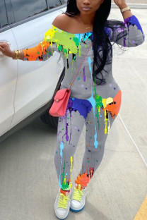 Grey Fashion Casual Adult Polyester Print Graffiti Oblique Collar Skinny Jumpsuits