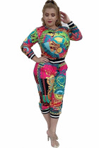 multicolor Polyester Casual Two Piece Suits Print Solid Straight Long Sleeve