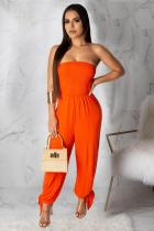 tangerine Sexy Solid Polyester Sleeveless Wrapped Jumpsuits