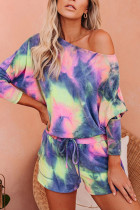 Blue Polyester Fashion Casual adult One word collar Patchwork Print Tie Dye Two Piece Suits Stitching Plus Size
