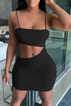 Black Sexy Solid Hollowed Out Spaghetti Strap Pencil Skirt Dresses
