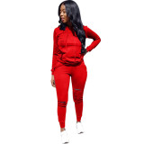 Red Drawstring Mid Solid pencil Two-piece suit