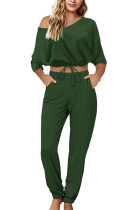 Army Green Sexy Casual Polyester Solid V Neck Long Sleeve Regular Sleeve Short Two Pieces