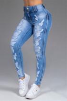 Blue Casual Solid Ripped Mid Waist Skinny Denim