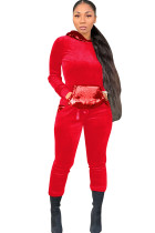 Red Polyester Casual Sequin Solid Two Piece Suits Patchwork pencil Long Sleeve