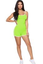 Green Fashion Sexy Solid Milk. Sleeveless Slip Jumpsuits