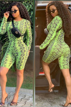 Green Light Fashion serpentine Print Polyester Long Sleeve O Neck Rompers