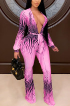 Pink Sexy Print With Belt V Neck Regular Jumpsuits