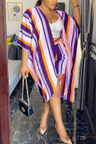 purple Polyester Fashion Casual adult Striped Patchwork Print ruffle Two Piece Suits Straight Half Sleeve Two Pieces