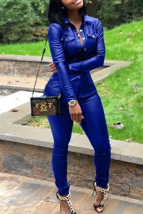 Royal Blue Street Solid Split Joint Turndown Collar Long Sleeve Two Pieces