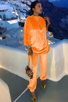Orange Chlorine Casual Patchwork Two Piece Suits Solid Straight Long Sleeve