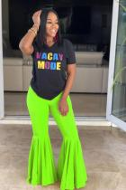 Fluorescent green Polyester Elastic Fly Sleeveless Mid Draped Solid Boot Cut Pants