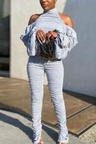 Grey Fashion Polyester PVC Solid Split Joint Frenulum Fold Turtleneck Skinny Jumpsuits
