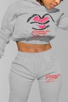 Grey Fashion Casual Print Basic Hooded Collar Mid Waist Tops