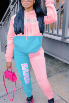 Pink Casual Polyester Patchwork Print Split Joint Hooded Collar Long Sleeve Regular Sleeve Regular Two Pieces