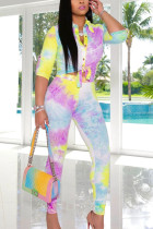 Yellow Casual Sportswear Polyester Print Buckle Turndown Collar Long Sleeve Short Two Pieces