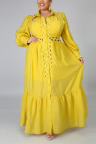 Yellow OL Notched Solid Plus Size