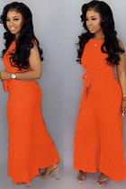 Orange Fashion Sexy Solid bandage Patchwork Polyester Sleeveless O Neck Jumpsuits