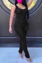 Black Fashion Casual Solid Fold U Neck Skinny Jumpsuits