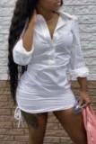 White Fashion Sexy Regular Sleeve Long Sleeve Turndown Collar Shirt Dress Mini Solid Dresses